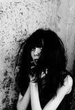 Retrato de la muchacha chocada y asustada del goth Rebecca 36 fotografía de archivo libre de regalías