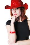 Retrato de la muchacha con el sombrero Fotos de archivo libres de regalías