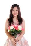 Retrato de la muchacha con las rosas aisladas Imagen de archivo