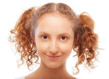 Retrato de la muchacha con los ponytails foto de archivo