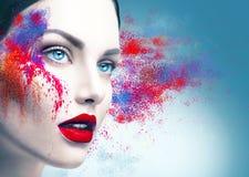 Retrato de la muchacha con maquillaje colorido del polvo Foto de archivo libre de regalías