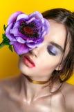 Retrato de la muchacha de la belleza con maquillaje vivo Cierre del retrato de la mujer de la moda para arriba en fondo amarillo  Fotografía de archivo libre de regalías