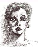 Retrato de la muchacha de la moda con la línea pintura del arte Cara del modelo de la mujer de la moda Imágenes de archivo libres de regalías