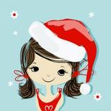 Retrato de la muchacha de Papá Noel, bosquejo para su diseño Fotografía de archivo