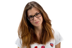 Retrato de la muchacha del adolescente con los vidrios Imagen de archivo
