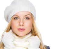 Retrato de la muchacha del adolescente en ropa del invierno Foto de archivo libre de regalías