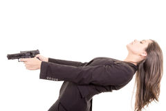 Retrato de la muchacha del asesino con dos armas Fotografía de archivo libre de regalías