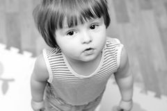 Retrato de la muchacha del Bw Foto de archivo