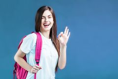 Retrato de la muchacha del estudiante Fotos de archivo libres de regalías