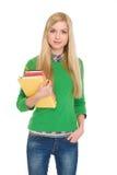 Retrato de la muchacha del estudiante con los libros Fotos de archivo libres de regalías