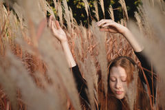 Retrato de la muchacha del jengibre en el campo de hierba con las manos para arriba Fotografía de archivo