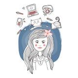 Retrato de la muchacha del vector Imagenes de archivo