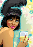 Retrato de la muchacha divertida con el vidrio de champán. Enfermo Fotografía de archivo libre de regalías