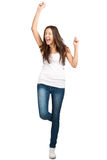Retrato de la muchacha emocionada feliz que grita Imagen de archivo libre de regalías