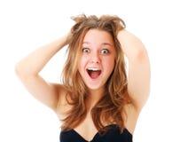 Retrato de la muchacha emocionada sorprendida Fotografía de archivo