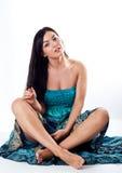Retrato de la muchacha en alineada azul Fotografía de archivo libre de regalías
