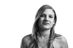 Retrato de la muchacha en blanco y negro Fotos de archivo libres de regalías