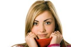 Retrato de la muchacha en bufanda imagen de archivo libre de regalías
