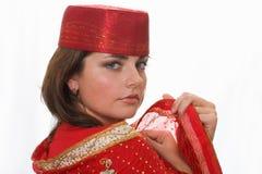 Retrato de la muchacha en el rojo Imagen de archivo