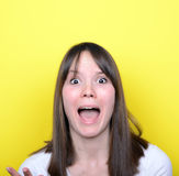 Retrato de la muchacha en humor que lucha Foto de archivo