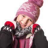 Retrato de la muchacha en la ropa del invierno de la emoción Fotografía de archivo
