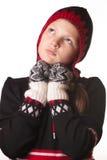 Retrato de la muchacha en la ropa del invierno de la emoción Fotos de archivo