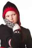 Retrato de la muchacha en la ropa del invierno de la emoción Imagen de archivo libre de regalías