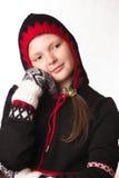 Retrato de la muchacha en la ropa del invierno de la emoción Foto de archivo libre de regalías