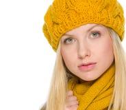 Retrato de la muchacha en ropa del otoño Imagen de archivo