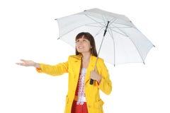 Retrato de la muchacha en una chaqueta de cuero Foto de archivo