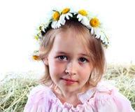 Retrato de la muchacha en una guirnalda del campo Fotografía de archivo libre de regalías