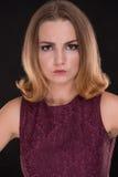 Retrato de la muchacha enojada Fotografía de archivo