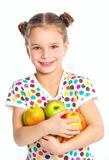 Retrato de la muchacha feliz con la manzana Imagen de archivo