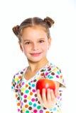 Retrato de la muchacha feliz con la manzana Fotografía de archivo libre de regalías
