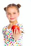 Retrato de la muchacha feliz con la manzana Fotos de archivo libres de regalías