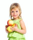 Retrato de la muchacha feliz con las manzanas Fotografía de archivo libre de regalías