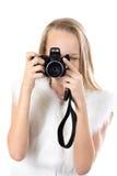 Retrato de la muchacha feliz que toma imágenes Imagen de archivo libre de regalías