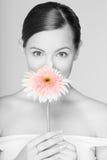 Retrato de la muchacha fresca y hermosa con la flor foto de archivo libre de regalías