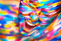 Retrato de la muchacha hermosa brillante con arte Foto de archivo libre de regalías