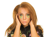 Retrato de la muchacha hermosa con maquillaje brillante Imagen de archivo libre de regalías