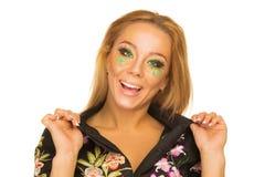 Retrato de la muchacha hermosa con maquillaje brillante Imagen de archivo
