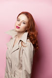 Retrato de la muchacha hermosa del redhead Fotos de archivo