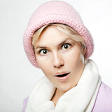 Retrato de la muchacha hermosa del whitehair en color de rosa Foto de archivo