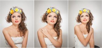 Retrato de la muchacha hermosa en estudio con las rosas amarillas en su pelo y hombros desnudos Mujer joven atractiva con maquill Foto de archivo libre de regalías
