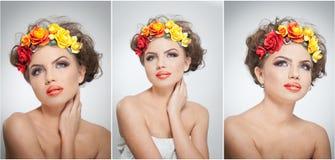 Retrato de la muchacha hermosa en estudio con las rosas amarillas y rojas en su pelo y hombros desnudos Mujer joven atractiva Fotografía de archivo