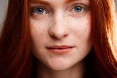 Retrato de la muchacha hermosa joven del jengibre sobre fondo gris Fotos de archivo