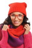 Retrato de la muchacha hermosa joven en estilo del invierno Foto de archivo