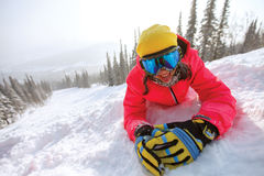 Retrato de la muchacha joven del snowboarder Imagen de archivo