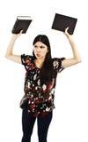 Retrato de la muchacha joven enojada, frustrada del estudiante Fotografía de archivo