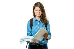 Retrato de la muchacha joven triste del estudiante con los libros Fotografía de archivo libre de regalías